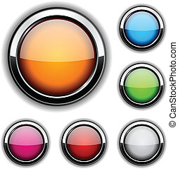 Glossy buttons. - Collection of glossy buttons. Vector...