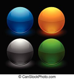 glossy buttons set in four colors