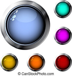 Set of six glossy buttons in various colors, RGB color space, vector illustration