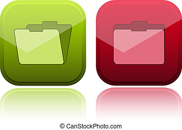 Glossy buttons with folder icon