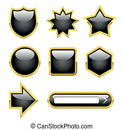 Glossy Buttons with Gold borders