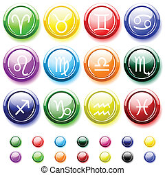Glossy buttons with zodiac signs