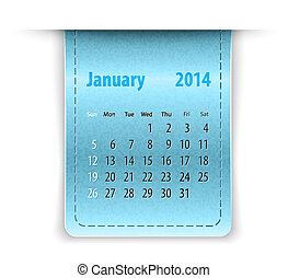 Glossy calendar for january 2014 on leather texture