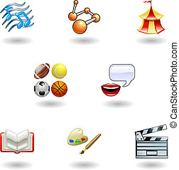 Glossy category education web icons - a subject or category ...