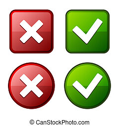 Glossy Check Mark Stickers and Buttons. Red Green. Vector. -...
