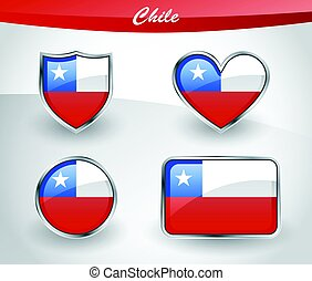 Glossy Chile flag icon set