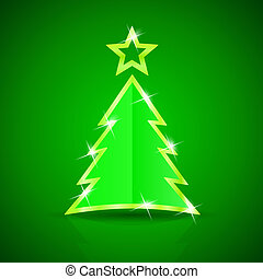 Glossy Christmas tree on the green background