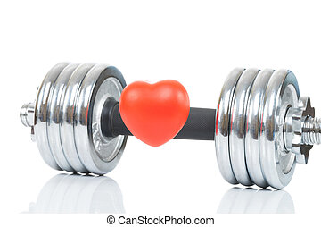 Glossy chromed dumbbell with toy heart in front of it as symbol of healthy heart - studio shot
