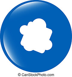 Glossy cloud web button icon isolated on white background