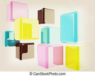 Glossy CMYK cubes on white . 3D illustration. Vintage style.