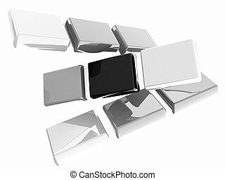 Glossy CMYK cubes on white