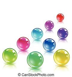 Glossy colored balls with reflection