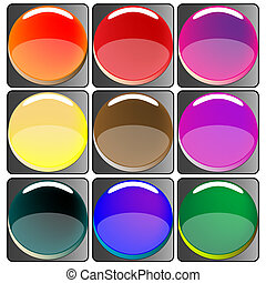 glossy colored web buttons collection