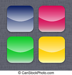 Glossy colorful app icon templates on linen background. Vector illustration