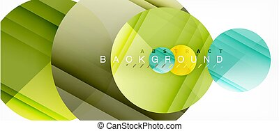 Glossy colorful circles abstract background, modern geometric design
