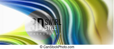 Glossy colorful liquid waves abstract background,, modern techno lines
