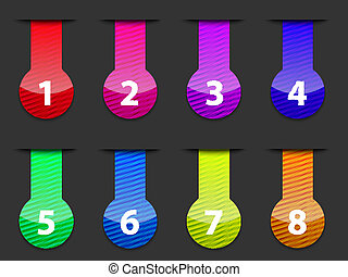 Glossy colorful numbered web interface elements