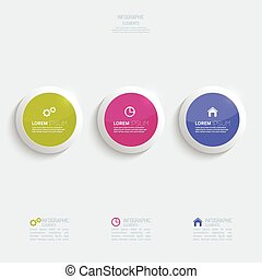 Glossy colorful plastic buttons for infographic, numbered...