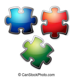 Glossy colorful puzzle set - Glossy colorful puzzle / jigsaw...