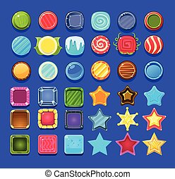 Glossy colorful shapes set, decorative elements for gui user interface design vector illustrations