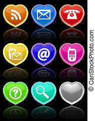 Glossy communication buttons set.