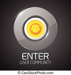 Glossy Community Button With Chrome Border - Glossy metal...