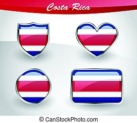 Glossy Costa Rica flag icon set