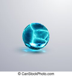 Glossy cracked crystal ice sphere. Vector illustration....