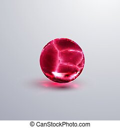 Glossy cracked crystal sphere. Vector illustration. Glossy...