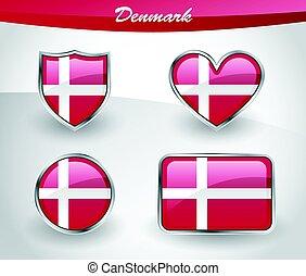 Glossy Denmark flag icon set