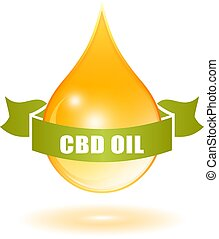 Glossy drop of cbd oil