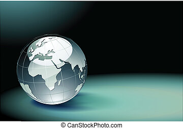 Glossy Earth Globe - Vector illustration of abstract dark...