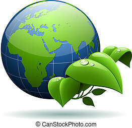Glossy Earth globe with green leaves isolated on white background.