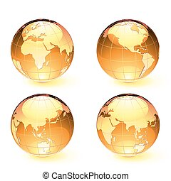 Glossy Earth Map Globes - Vector illustration of orange...