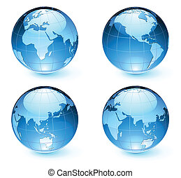 Glossy Earth Map Globes - Vector illustration of blue Glossy...