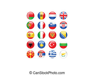 Europe flags buttons, part one - Glossy Europe flags buttons...