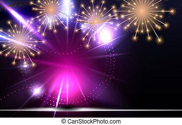 Glossy Fireworks Background Illustration