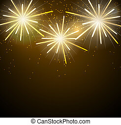 Glossy Fireworks Background Vector Illustration. EPS10