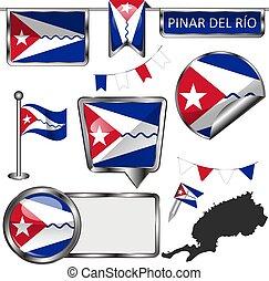Glossy badges of flag of Pinar del Rio, Cuba. Vector image