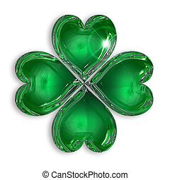 four-leaf clover - glossy four-leaf clover isolated on white...
