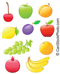 glossy fruit icons - set of colored glossy fruit icons