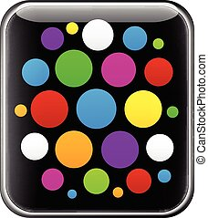 Glossy gadget with colorful circles.