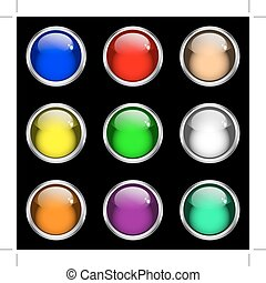 Web buttons. Nine shiny gel buttons with silver rims in assorted colors. Isolated on black.
