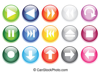 glossy glass buttons for website - vector illustrations of ...