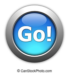 glossy go or start button for internet website