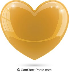 Glossy gold heart isolated on white background.