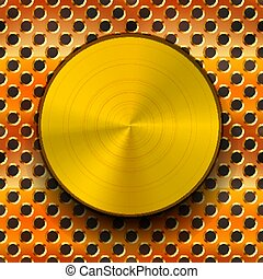 Glossy gold metal knob with shadow on copper grid