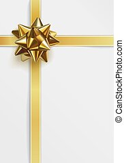 Glossy golden bow. Greeting card template