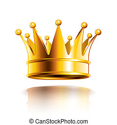 Glossy golden crown isolated on white photo-realistic vector illustration