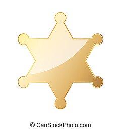 Glossy golden sheriff star. Vector illustration.